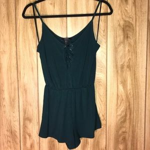 Dark navy blue romper with tied front